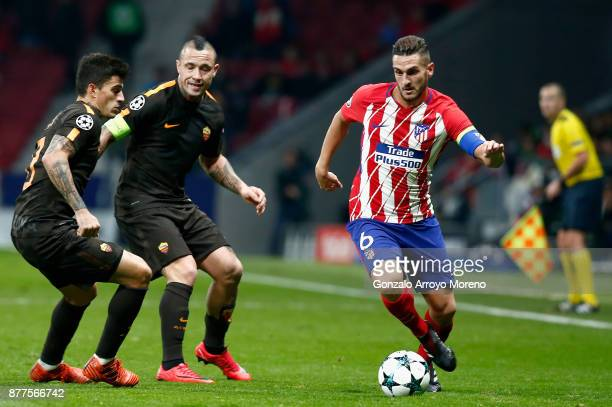 Koke of Atletico Madrid in action during the UEFA Champions League group C match between Atletico Madrid and AS Roma at Wanda Metropolitano on...
