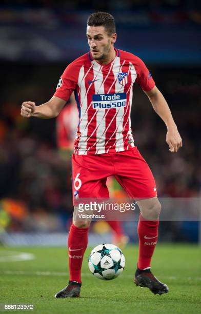 Koke of Atletico Madrid in action during the UEFA Champions League group C match between Chelsea FC and Atletico Madrid at Stamford Bridge on...
