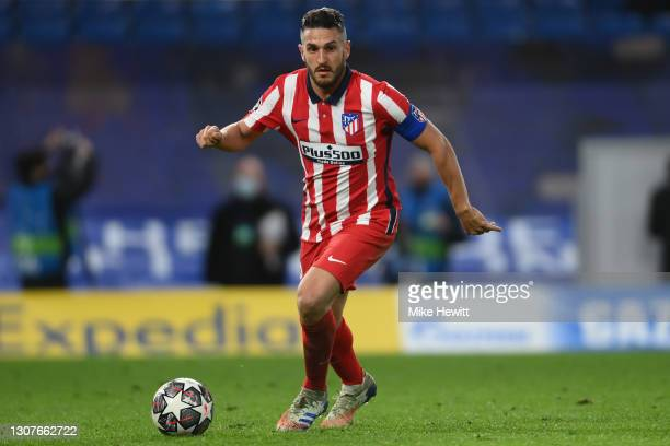 Koke of Atletico Madrid in actionduring the UEFA Champions League Round of 16 match between Chelsea FC and Atletico Madrid at Stamford Bridge on...