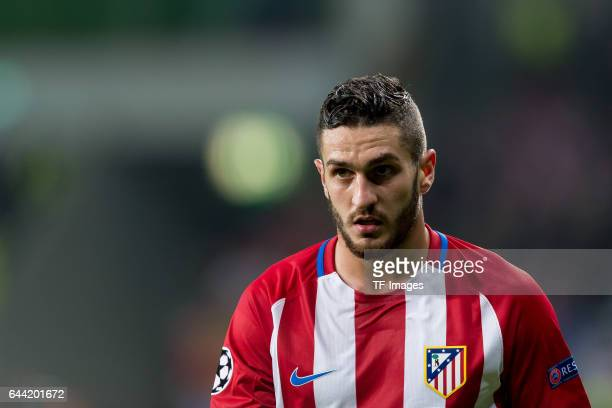 Koke of Atletico Madrid looks on during the UEFA Champions League Round of 16 first leg match between Bayer Leverkusen and Club Atletico de Madrid at...