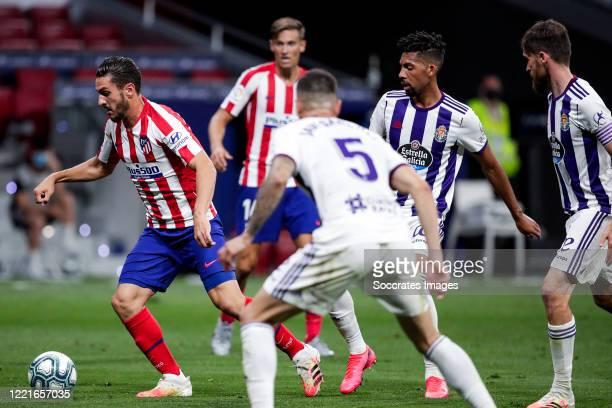 Koke of Atletico Madrid Matheus Fernandes of Real Valladolid during the La Liga Santander match between Atletico Madrid v Real Valladolid at the...