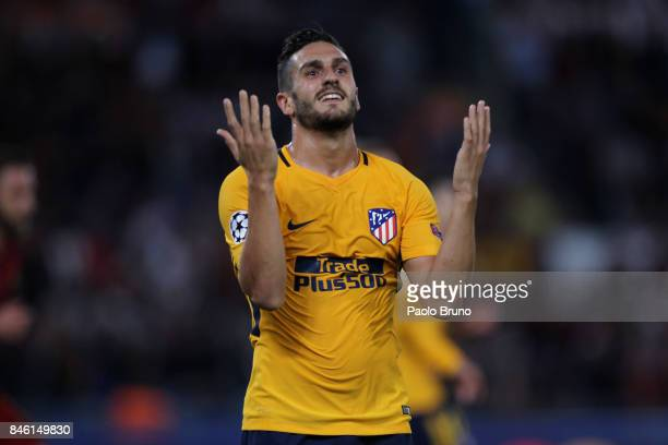 Koke of Atletico Madrid reacts during the UEFA Champions League group C match between AS Roma and Atletico Madrid at Stadio Olimpico on September 12...