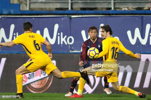 Koke of Atletico Madrid Takashi Inui of SD Eibar Sime Vrsaljko of Atletico Madrid during the La Liga Santander match between Eibar v Atletico Madrid...