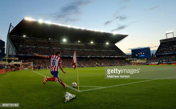 Koke of Atletico Madrid takes a corner in the Vicente Calderon stadium home of Atletico Madrid