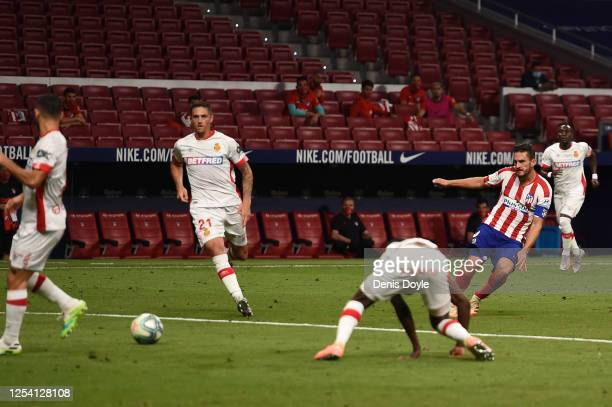 Koke of Atletico scores his side's third goal during the Liga match between Club Atletico de Madrid and RCD Mallorca at Wanda Metropolitano on July...