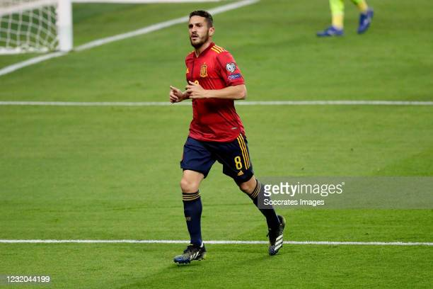 Koke of Spain during the World Cup Qualifier match between Spain v Kosovo at the La Cartuja Stadium on March 31, 2021 in Sevilla Spain