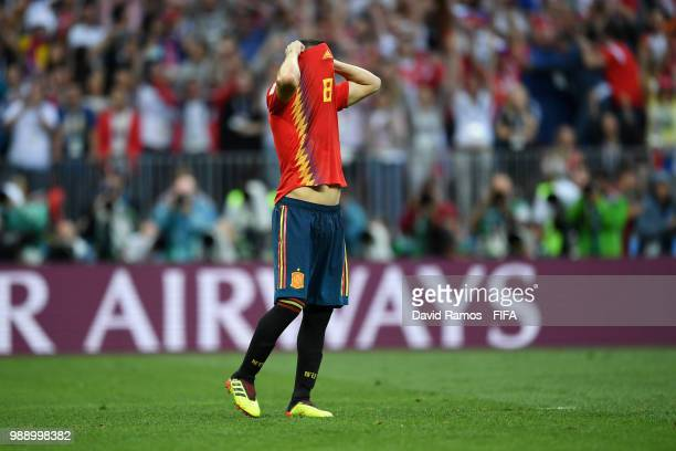 Koke of Spain looks dejected following during the 2018 FIFA World Cup Russia Round of 16 match between Spain and Russia at Luzhniki Stadium on July 1...