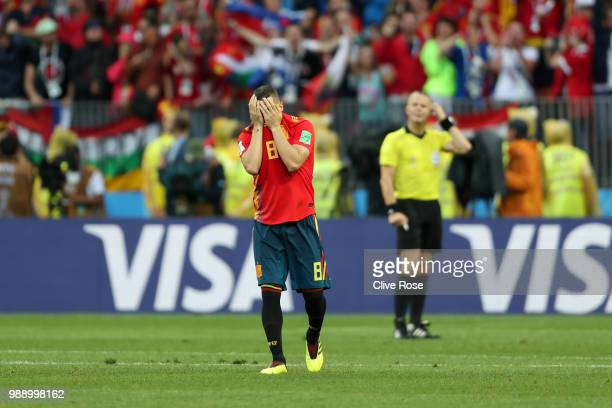 Koke of Spain looks dejected following his sides defeat in the 2018 FIFA World Cup Russia Round of 16 match between Spain and Russia at Luzhniki...