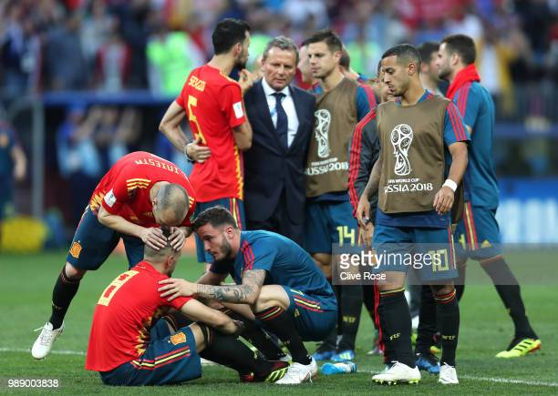 Koke of Spain looks dejected following his sides defeat in which he missed a penalty in the 2018 FIFA World Cup Russia Round of 16 match between...