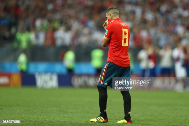 Koke of Spain looks dejected following missing his team's third penalty in the penalty shoot out during the 2018 FIFA World Cup Russia Round of 16...