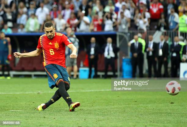 Koke of Spain misses his team's third penalty in the penalty shoot out during the 2018 FIFA World Cup Russia Round of 16 match between Spain and...
