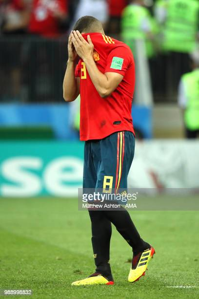 Koke of Spain reacts after missing a penalty in a shootout during the 2018 FIFA World Cup Russia Round of 16 match between Spain and Russia at...