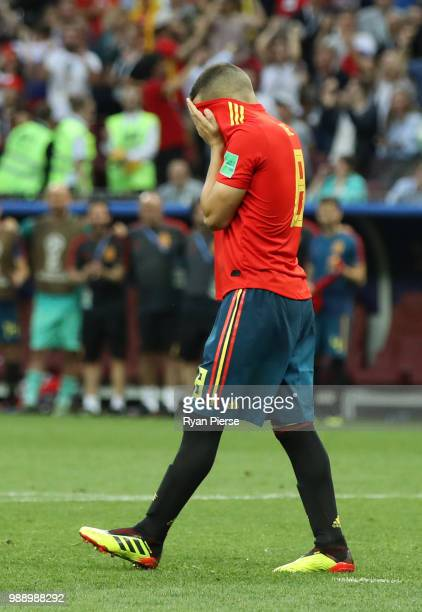Koke of Spain reacts after missing his team's third penalty in the penalty shoot out during the 2018 FIFA World Cup Russia Round of 16 match between...