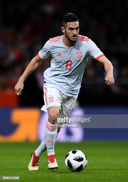 Koke of Spain runs with the ball during an International friendly match between Spain and Argentina at the Wanda Metropolitano stadium on March 27...