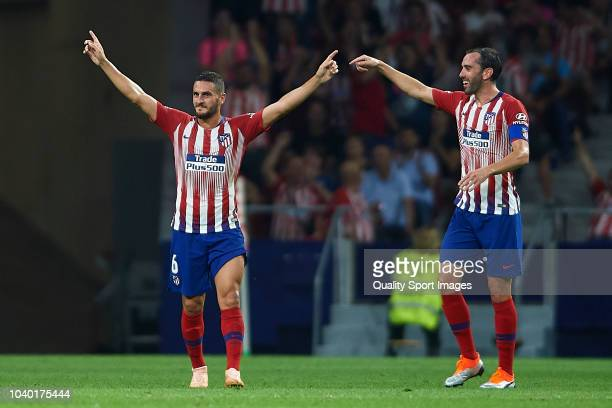 Koke Resurreccion of Atletico De Madrid celebrates after scoring his team's third goal during the La Liga match between Club Atletico de Madrid and...