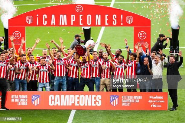Koke Resurreccion of Atletico de Madrid celebrates with La Liga trophy during the trophy presentation at Estadio Wanda Metropolitano on May 23, 2021...