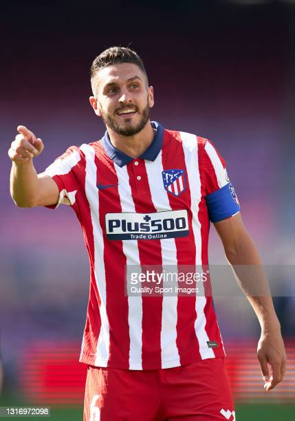 Koke Resurreccion of Atletico de Madrid reacts during the La Liga Santander match between FC Barcelona and Atletico de Madrid at Camp Nou on May 08,...