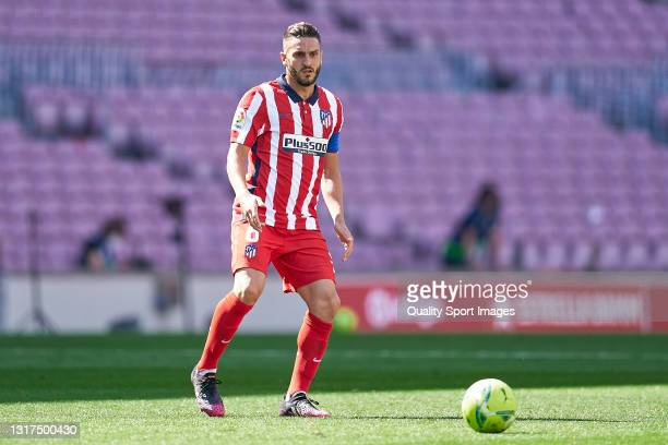 Koke Resurreccion of Atletico de Madrid with the ball during the La Liga Santander match between FC Barcelona and Atletico de Madrid at Camp Nou on...