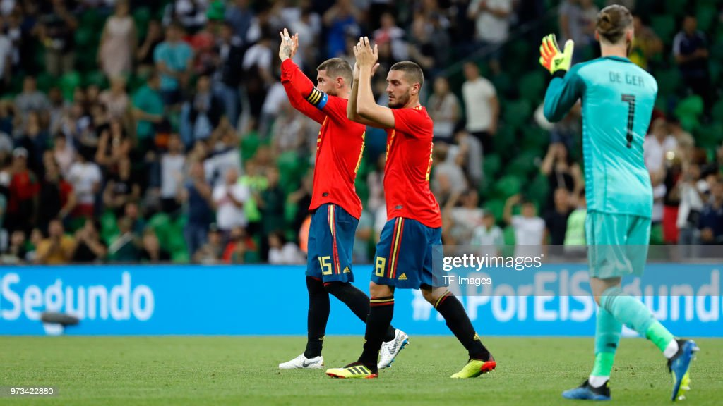 Koke Resurreccion of Spain and Sergio Ramos of Spain gesture after the friendly match between Spain and Tunisia at Krasnodar's stadium on June 9, 2018 in Krasnodar, Russia.