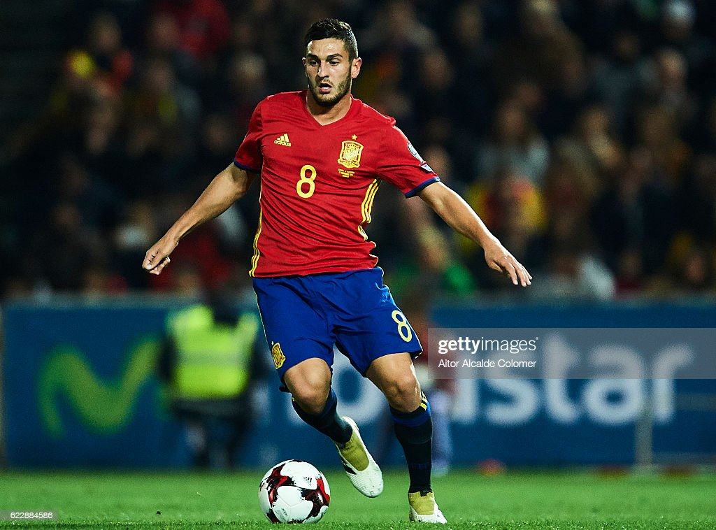 Koke Resurreccion of Spain in action during the FIFA 2018 World Cup Qualifier between Spain and FYR Macedonia at on November 12, 2016 in Granada, .