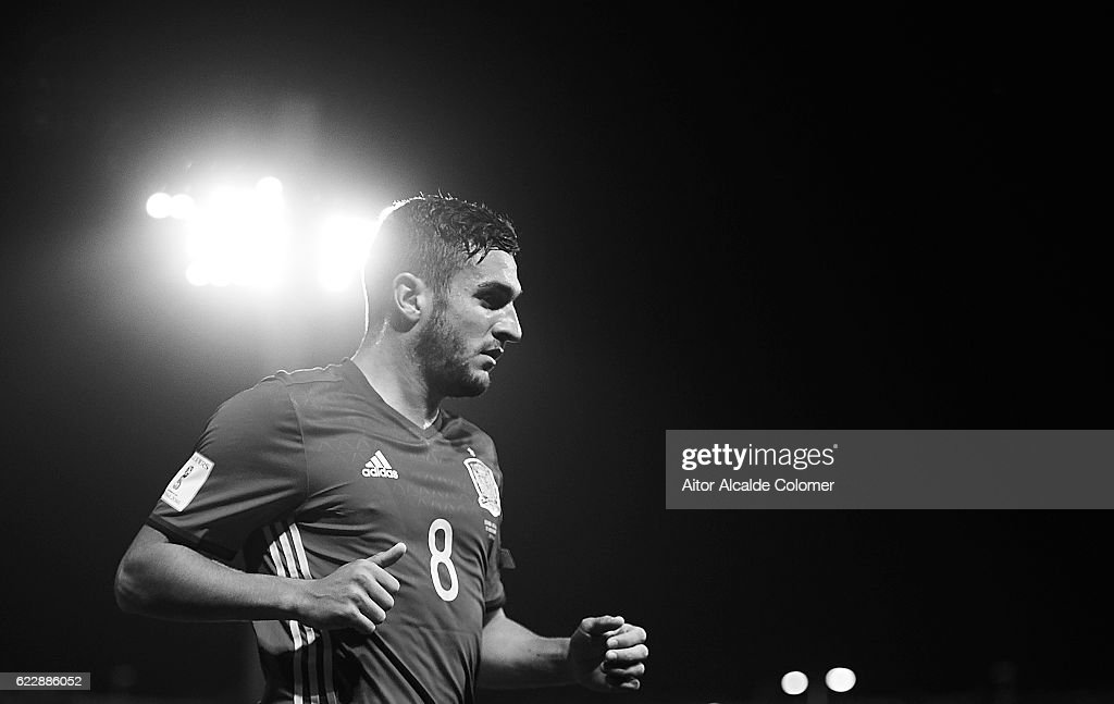 Koke Resurreccion of Spain looks on during the FIFA 2018 World Cup Qualifier between Spain and FYR Macedonia at Estadio Nuevos los Carmenes on November 12, 2016 in Granada, .