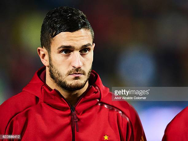 Koke Resurreccion of Spain looks on during the FIFA 2018 World Cup Qualifier between Spain and FYR Macedonia at Estadio Nuevos los Carmenes on...