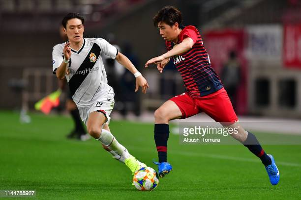 Koki Anzai of Kashima Antlers runs with the ball during the AFC Champions League Group E match between Kashima Antlers and Gyeongnam at Kashima...