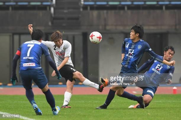 Koki Anzai of Tokyo Verdy shoots at goal during the JLeague J1 Promotion PlayOff semi final match between Avispa Fukuoka and Tokyo Verdy at Egao...
