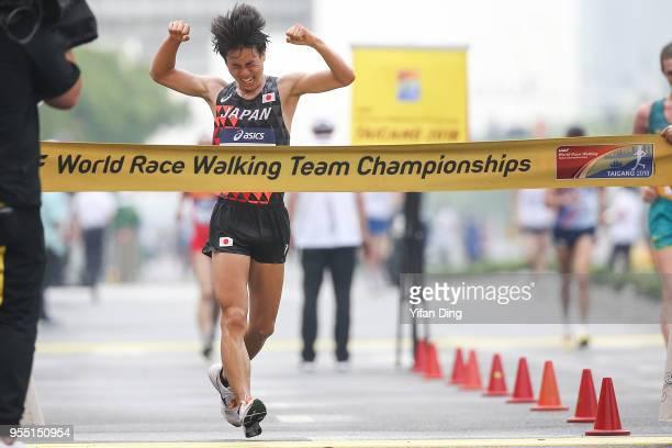 Koki Ikeda of Japan celebrates after winning Men's 20 kilometres Race Walk of IAAF World Race Walking Team Championships Taicang 2018 on May 6, 2018...