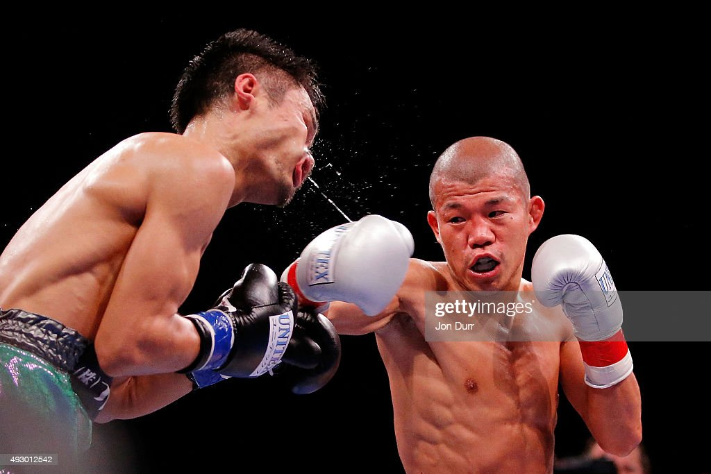 Koki Kameda (R) throws a right at Kohei Kono (L) during their Main Event: Light Heavyweights fight at UIC Pavilion on October 16, 2015 in Chicago, Illinois. Kohei Kono won by unanimous decision.