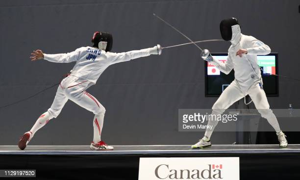Koki Kano of Japan fences Alexandre Bardenet of France during the semifinals at the Peter Bakonyi Men's Epee World Cup on February 9 2019 at the...