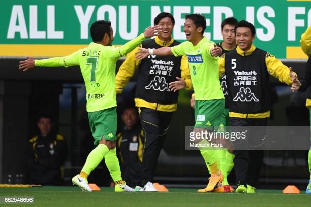 Koki Kiyotake of JEF United Chiba celebrates the third goal during the JLeague J2 match between JEF United Chiba and VVaren Nagasaki at Fukuda Denshi...