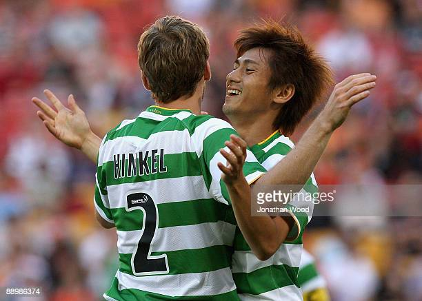 Koki Mizuno of Celtic celebrates after scoring a goal during the preseason friendly match between the Brisbane Roar and Celtic FC at Suncorp Stadium...
