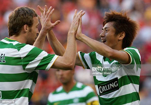 Koki Mizuno of Celtic during celebrates after scoring a goal during the preseason friendly match between the Brisbane Roar and Celtic FC at Suncorp...