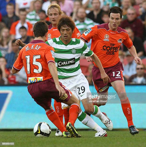 Koki Mizuno of Celtic in attack during the preseason friendly match between the Brisbane Roar and Celtic FC at Suncorp Stadium on July 12 2009 in...