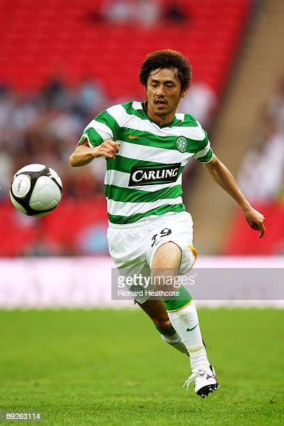 Koki Mizuno of Celtic runs with the ball during the Wembley Cup match between Celtic and Tottenham Hotspur at Wembley Stadium on July 26 2009 in...