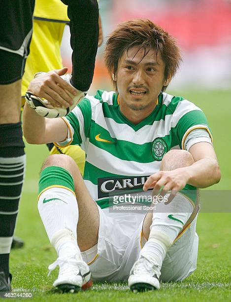 Koki Mizuno of Celtic takes a break during the Wembley Cup match between Celtic and Al Ahly at Wembley Stadium on July 24 2009 in London England