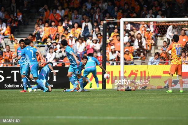 Koki Mizuno of Sagan Tosu celebrates the first goal during the JLeague J1 match between Shimizu SPulse and Sagan Tosu at IAI Stadium Nihondaira on...