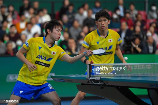 Koki Niwa and Maharu Yoshimura of Japan competes againast Patrick Franziska and Timo Boll of Germany during Men's Teams singles - Quarterfinals -...