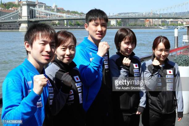 Koki Niwa, Kasumi Ishikawa, Tomokazu Harimoto, Miu Hirano and Mima Ito of Japan pose for photographs ahead of the Liebherr 2019 ITTF World Table...