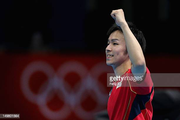 Koki Niwa of Japan celebrates during Men's Team Table Tennis first round match against team of Canada on Day 8 of the London 2012 Olympic Games at...
