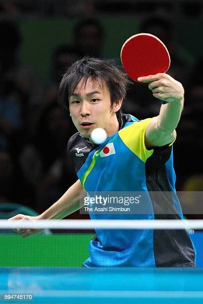 Koki Niwa of Japan competes against Ma Long of China during the the Men's Team Table Tennis gold medal match on Day 12 of the Rio 2016 Olympic Games...