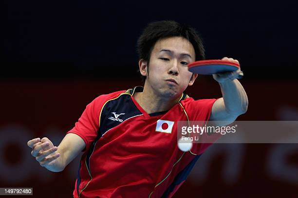 Koki Niwa of Japan competes during Men's Team Table Tennis first round match against team of Canada on Day 8 of the London 2012 Olympic Games at...