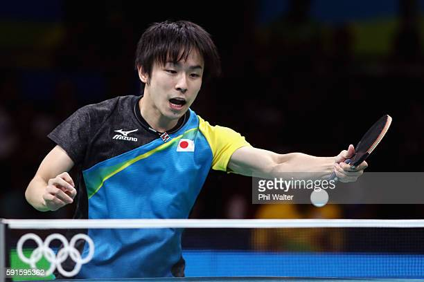Koki Niwa of Japan competes during the Men's Table Tennis gold medal match against Long Ma of China at Riocentro - Pavilion 3 on Day 12 of the Rio...