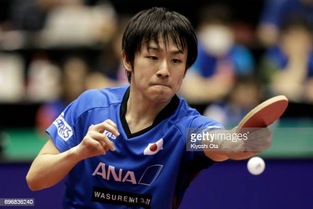 Koki Niwa of Japan competes in the Men's Singles quarter final match against Ma Long of China during day four of the 2017 ITTF World Tour Platinum...