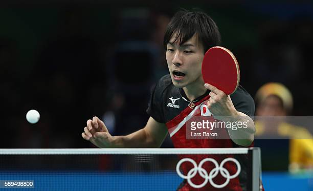Koki Niwa of Japan in action during the Table Tennis Men's Quarterfinal Match between Japan and Hong Kong on August 14 2016 in Rio de Janeiro Brazil