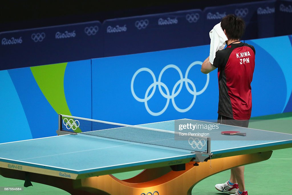 Koki Niwa of Japan reacts after beating Chun Ting Wong of Hong Kong, China during Round 4 of the Men's Singles Table Tennis on Day 3 of the Rio 2016 Olympic Games at Riocentro - Pavilion 3 on August 8, 2016 in Rio de Janeiro, Brazil.
