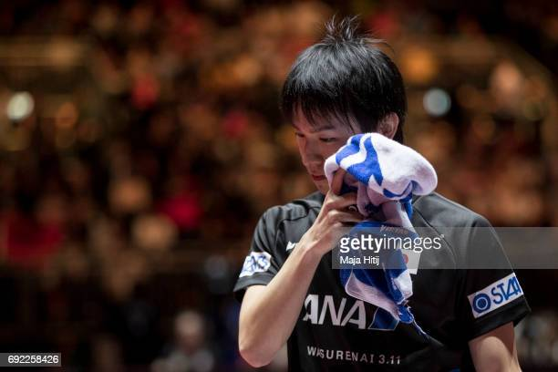 Koki Niwa of Japan reacts after Men's Singles quarter Final at Table Tennis World Championship at at Messe Duesseldorf on June 4, 2017 in Dusseldorf,...