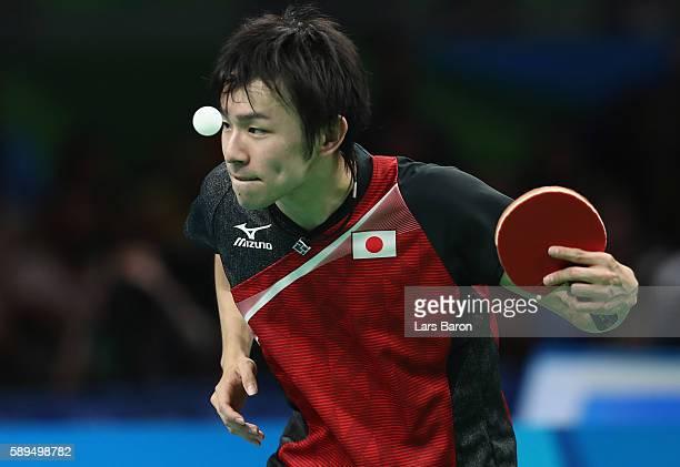 Koki Niwa of Japan serves during the Table Tennis Men's Quarterfinal Match between Japan and Hong Kong on August 14 2016 in Rio de Janeiro Brazil