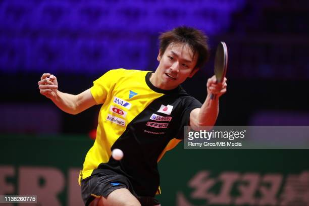 Koki Niwa of Japan trains ahead of the Liebherr 2019 ITTF World Table Tennis Championships on April 20, 2019 in Budapest, Hungary.